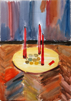 Three Candles. 1995. Watercolor on paper. 64 x 45