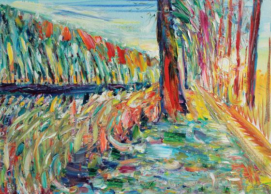 De Weg Naar Brugge. 2020. Oil on canvas, cardboard. 50 x 70