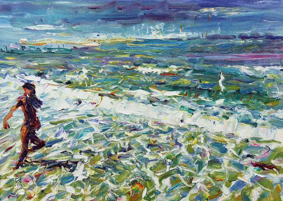 North Sea. 2014. Oil on canvas, cardboard. 40 x 50