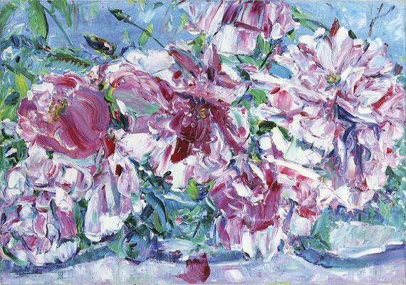 Roses In The Italian Garden. 2018. Oil on canvas. 45 x 65