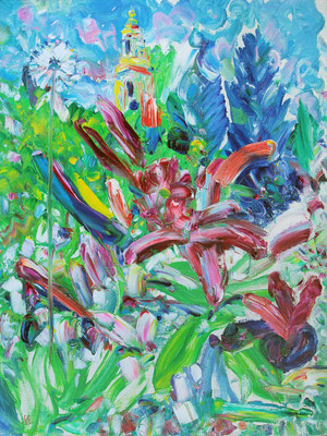 Novospassky Garden. 2020.  Oil on canvas. 80 x 60