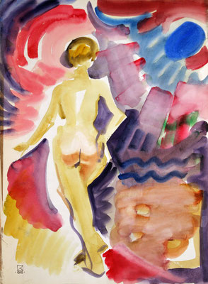 In the Sunrays (Summer). 1995. Watercolor on paper. 55 x 40