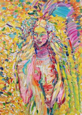 Spring. 2020. Oil on canvas, cardboard. 70 x 50