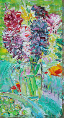 One Bunch. Triptych left 2020. Oil on canvas. 48 x 26