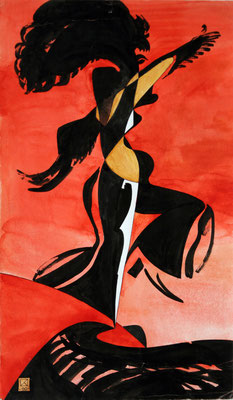Dance. 1992. Mixed media on paper. 42.5 x 25