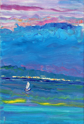 Velvet Evening. View from Duino to Trieste. 2018. Oil on canvas, cardboard. 64 x 42