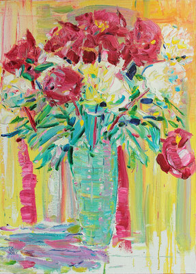 Peonies and Crystal. 2020. Oil on canvas. 80 x 60