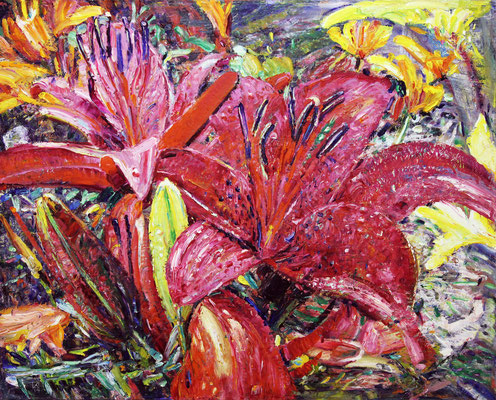 Red Lilies. 2014. Oil on canvas. 80 x 100