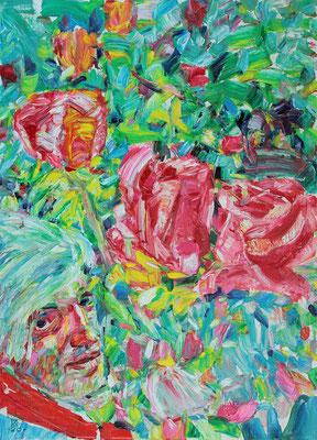 Self Portrait in the Garden. 2020. Oil on canvas. 70 x 50