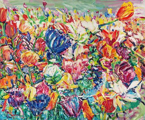 Tulips to the Road. 2014. Oil on canvas. 100 x 120