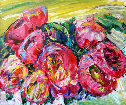 Icons Peonies. 2014. Oil on canvas. 100 x 120