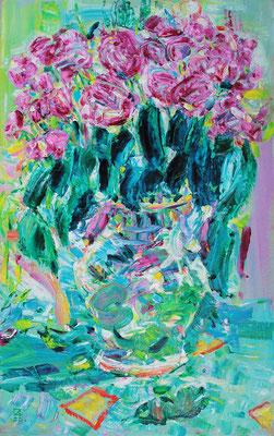 Roses in a Vase. 2020. Oil on cardboard. 66,5 x 41,8