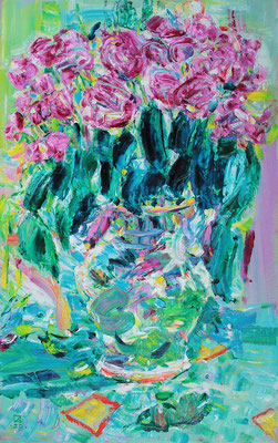 Roses in a Vase. 2020. Oil on cardboard. 66,5 x 41,8