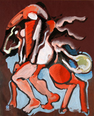 Figure. Horse. Dedicated to G. de Chirico. 1995. Mixed media on colored paper. 60.5 x 49.5