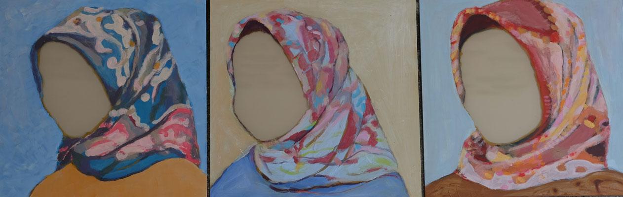ihr und wir 3teilig je 30 x30 cm Akryl auf Spiegelfliese