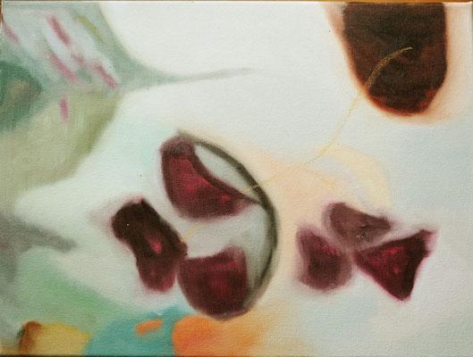 Bettrandgeschichten1 30 x 40 cm Öl auf LW