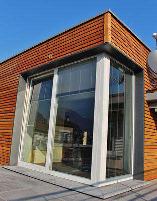 serramento ad angolo in legno alluminio