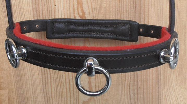 Akademischer Kappzaum *LERINA*, 3 Ringe, Wollfilz Rot