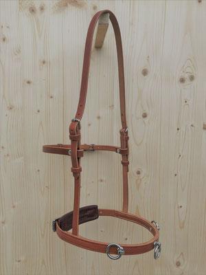 Akademischer Kappzaum *NELLO*, 3 Ringe, mit Basisgenickstück, Backenriemen