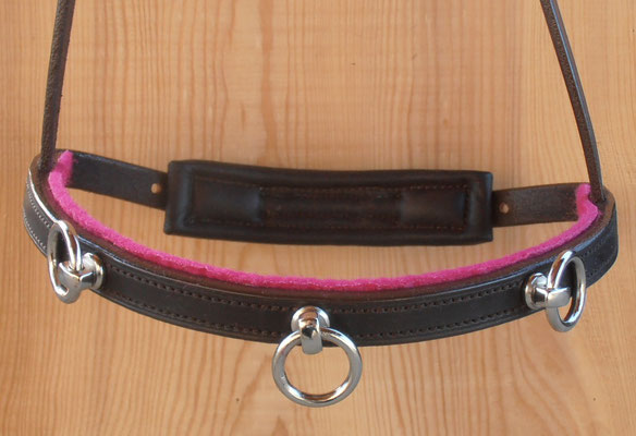 Akademischer Kappzaum *LERINA*, 3 Ringe, Wollfilz Pink