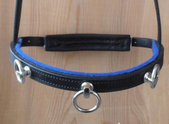 Akademischer Kappzaum *HIRONDELLE*, 3 Ringe, Wollfilz Blau