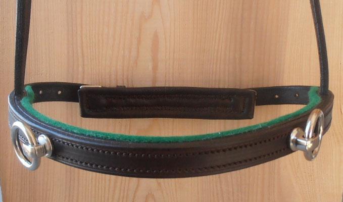 Akademischer Kappzaum *HIRONDELLE*, 2 Ringe, Wollfilz Grün