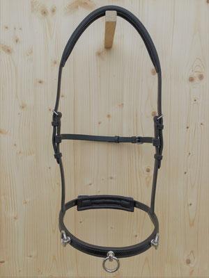 Akademischer Kappzaum *HIRONDELLE*, 3 Ringe, mit Softleder Genickstück, Backenriemen