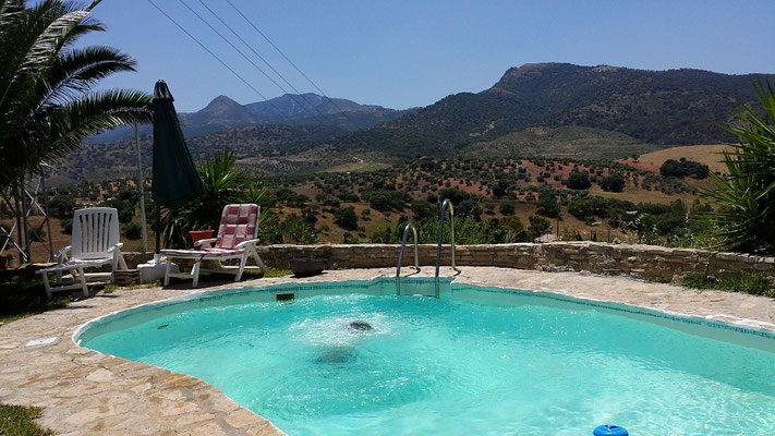 Our pool with a precious view of the Sierra de Grazalema