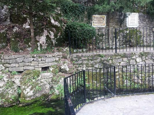 Die Brunnenanlage mit dem Schöpfbecken und Hinweistafeln.