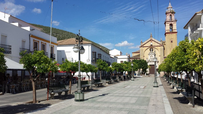The main square of Algodonales with its bars and cafés