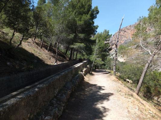 Nach dem ersten Teil des Steges folgt ein längerer Wanderweg entlang des Wasserkanals vom oberen Staudamm.