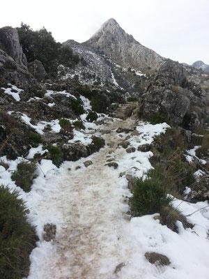 Ab jetzt wird es eisig und etwas rutschig. Im Hintergrund der Cerro de San Cristóbal.