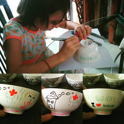 Atelier customisation de nos bols blancs !