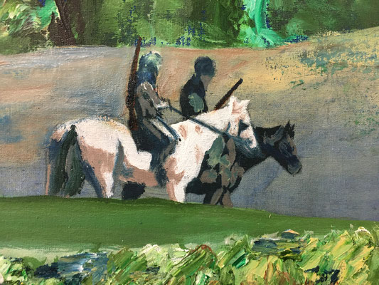 """Detailausschnitt aus dem Bild """"Jäger und nackter Riesenhase"""", 2020"""