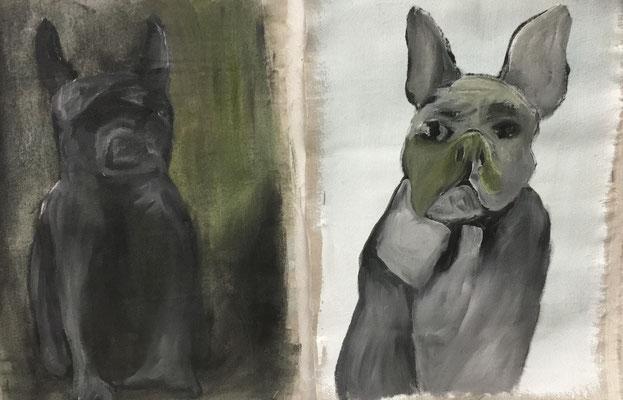 Zusammen durch dick und dünn, Mass beide zusammen: 40 x 59 cm, Öl auf Leinwand, 2020