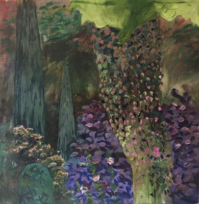 Geheimer Garten, 200 x 195 cm, Öl auf Baumwolle, 2020