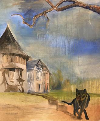 Die schwarze Katze, 160 x 140 cm, Öl auf Baumwolle, 2020.