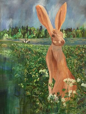 Jäger & nackter Riesenhase, Ölfarbe auf Baumwolle, 140 x 190 cm, 2020.