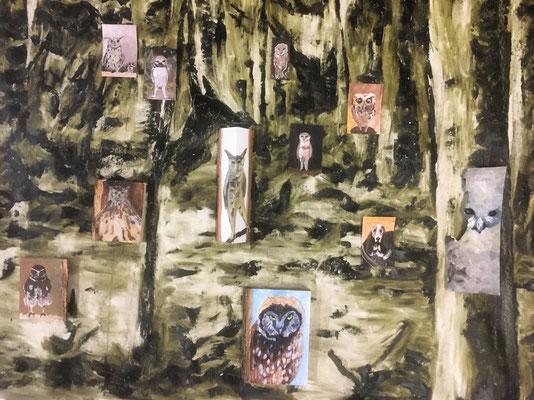 Blicke im Wald, 95 cm x 140 cm, Öl auf Holz/ Baumwolle & Papier, 2020