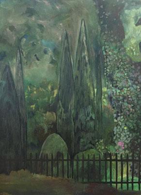 Innerer Garten, 170 x 130 cm, Öl auf Baumwolle, 2020.
