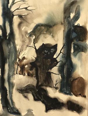 Waldkatze, 120 x 80 cm, Tusche auf Baumwolle, 2020.