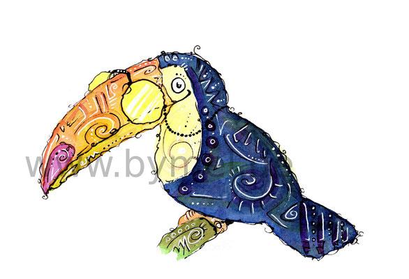 """""""Herr Tukan"""",  Aquarell auf 300g/qm Aquarellpapier, Preis: 60€ zzgl. Versand, erhältlich als limitierter, handsignierter Druck für 25€ zzgl. Versand"""