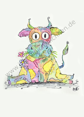 """""""Frieda die Kuh"""", Aquarell auf 300g/qm Aquarellpapier, A4, Preis: erhältlich als limitierter, handsignierter Druck für 40€ zzgl. Versand"""