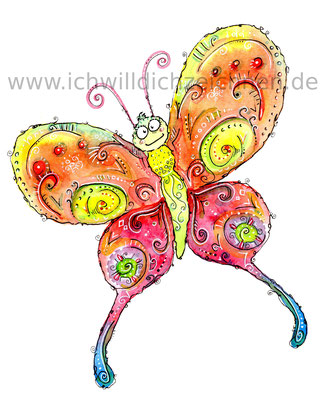 """""""Schmetterling"""",  Aquarell auf 300g/qm Aquarellpapier, 24x32cm, Preis: 220€ zzgl. Versand, erhältlich als limitierter, handsignierter Druck für 40€ zzgl. Versand"""