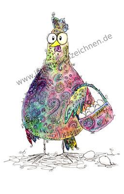 """""""Elma Huhn war einkaufen"""", Aquarell auf 300g/qm Aquarellpapier, A4,Preis: 190€ zzgl. Versand, erhältlich als limitierter, handsignierter Druck für 40€ zzgl. Versand"""