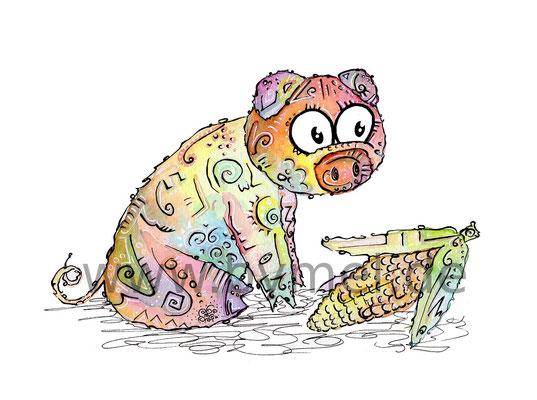 """""""Schweinchen"""",  Aquarell auf 300g/qm Aquarellpapier, 24x32cm, Preis: 220€ zzgl. Versand, erhältlich als limitierter, handsignierter Druck für 40€ zzgl. Versand"""