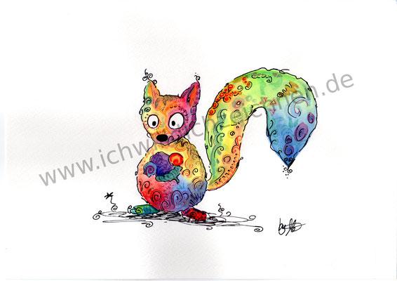 """""""Eichhörnchen Tom"""", Aquarell auf 300g/qm Aquarellpapier, A4,Preis: 200€ zzgl. Versand, erhältlich als limitierter, handsignierter Druck für 40€ zzgl. Versand"""