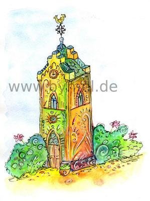 """""""Glockenturm"""" der Gemeinde Würzweiler im Donnersbergkreis, Aquarell auf Papier, Preis: 100€ zzgl. Versand"""