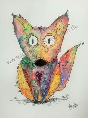 """""""Flix der Fuchs"""", Aquarell auf 300g/qm Aquarellpapier, A4,Preis: 200€ zzgl. Versand, erhältlich als limitierter, handsignierter Druck für 40€ zzgl. Versand"""