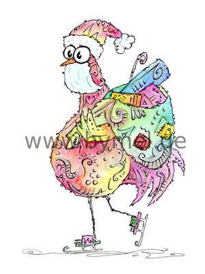 """""""Weihnachtshahn"""",  Aquarell auf 300g/qm Aquarellpapier, 24x32cm, Preis: 220€ zzgl. Versand, erhältlich als limitierter, handsignierter Druck für 40€ zzgl. Versand"""